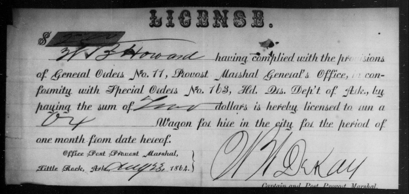 Howard, W B - State: Arkansas - Year: 1864
