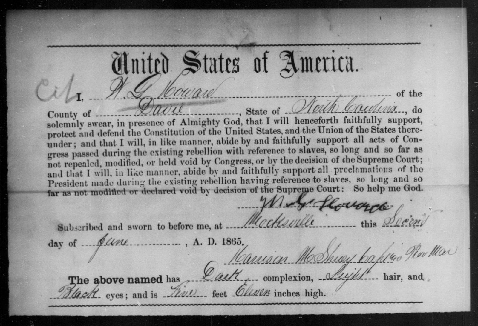 Howard, W G - State: North Carolina - Year: 1865