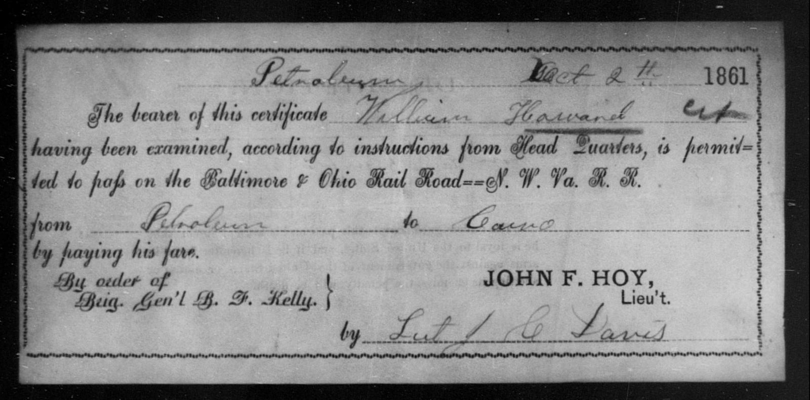 Howard, William - State: Ohio - Year: 1861