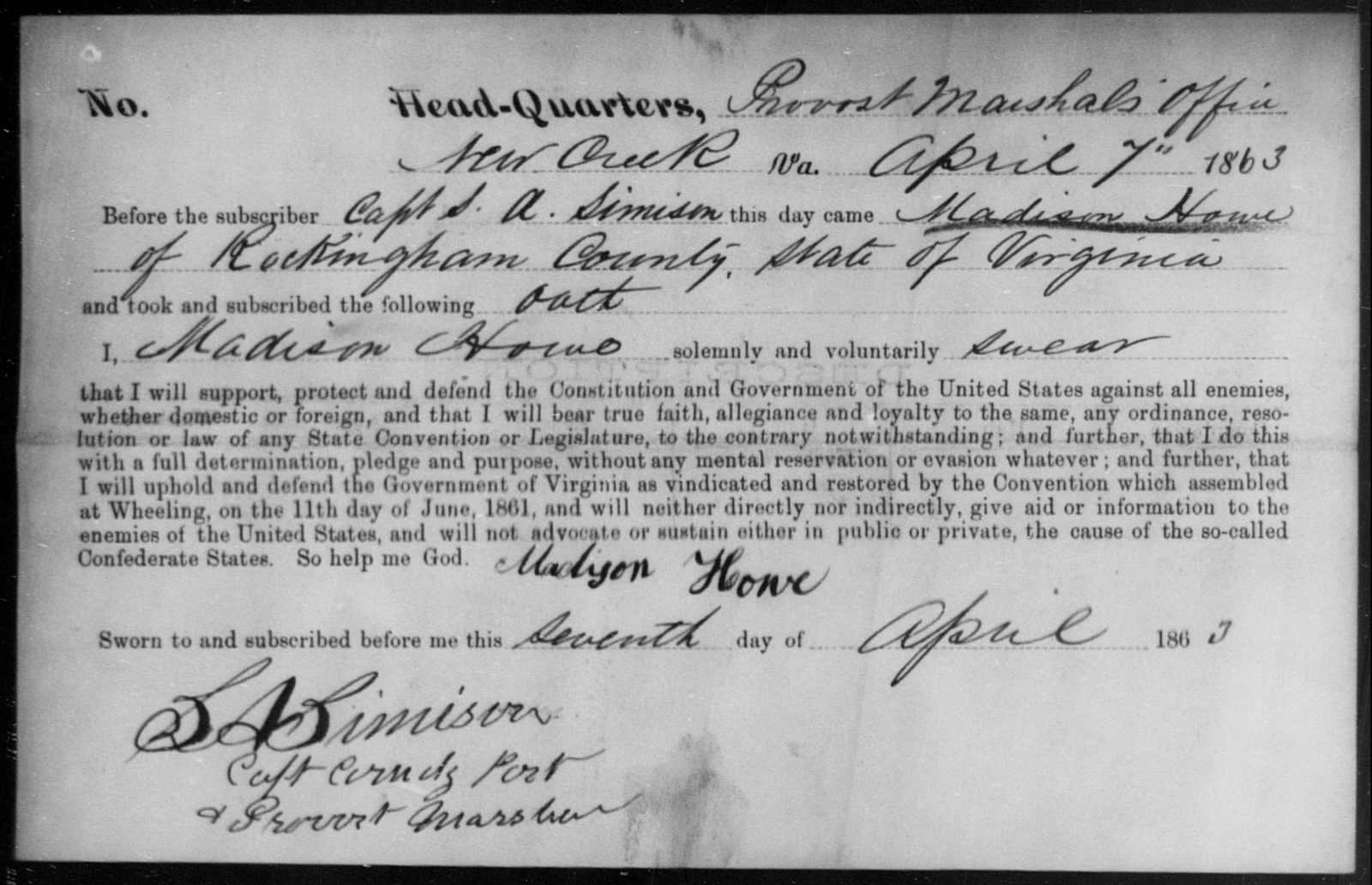 Howe, Madison - State: Virginia - Year: 1863