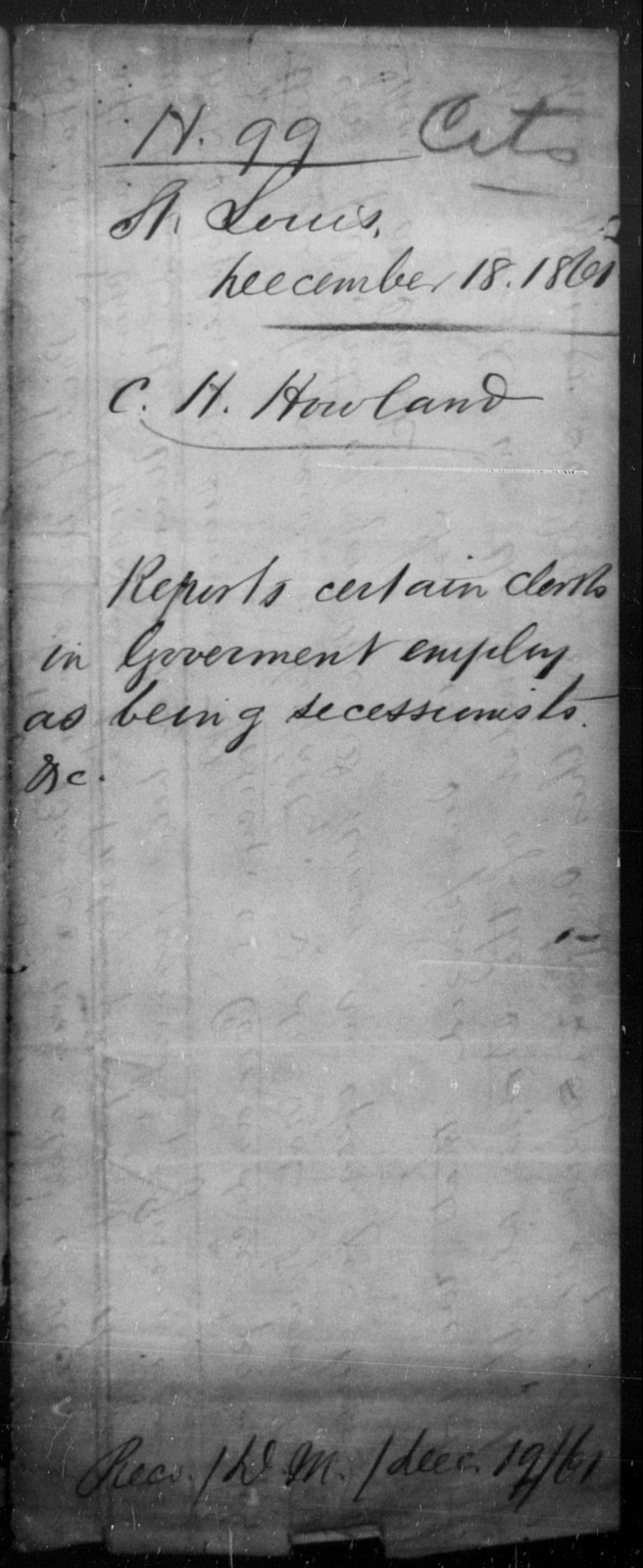 Howland, C H - State: [Blank] - Year: 1861