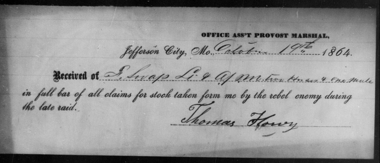 Howry, Thomas - State: Missouri - Year: 1864