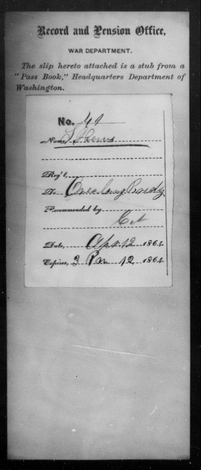 Hows, S - State: Washington - Year: 1864