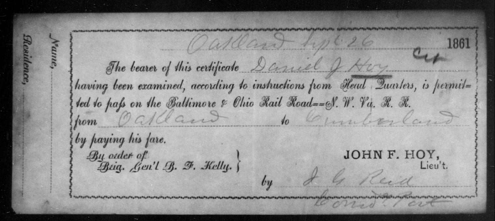 Hoy, Daniel J - State: Ohio - Year: 1861