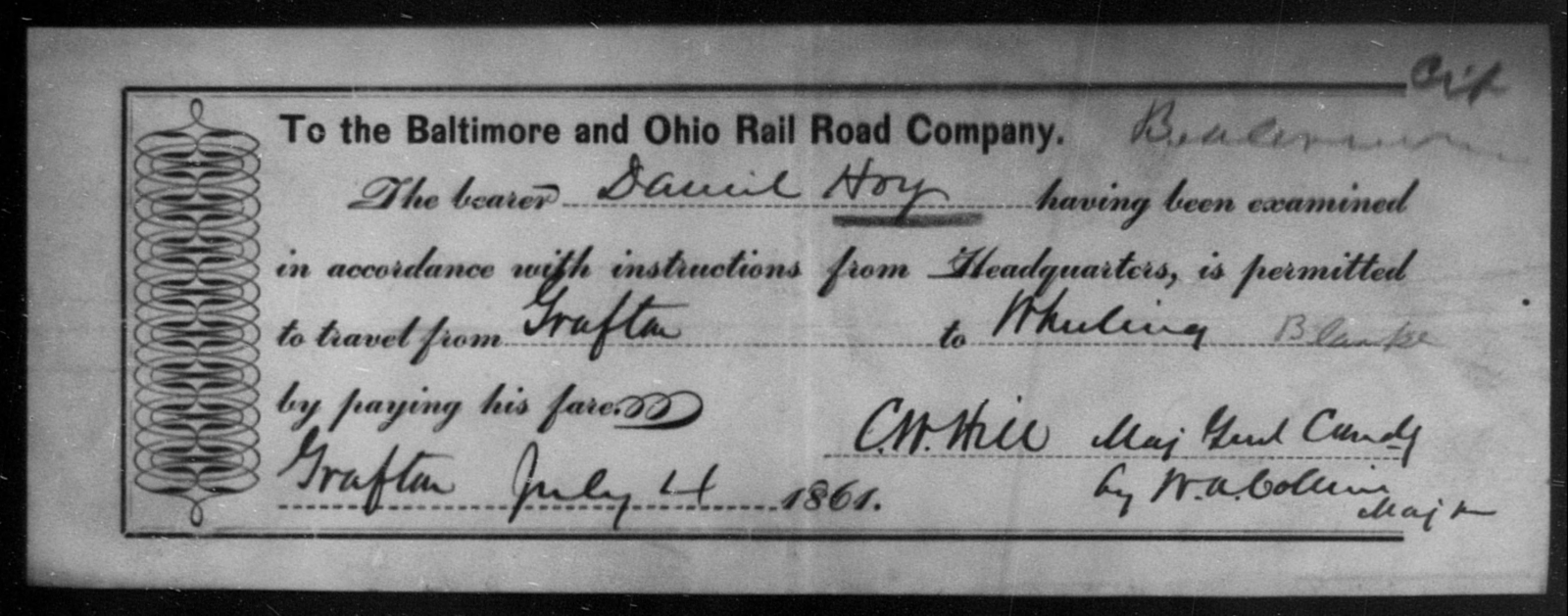Hoy, Daniel - State: Ohio - Year: 1861