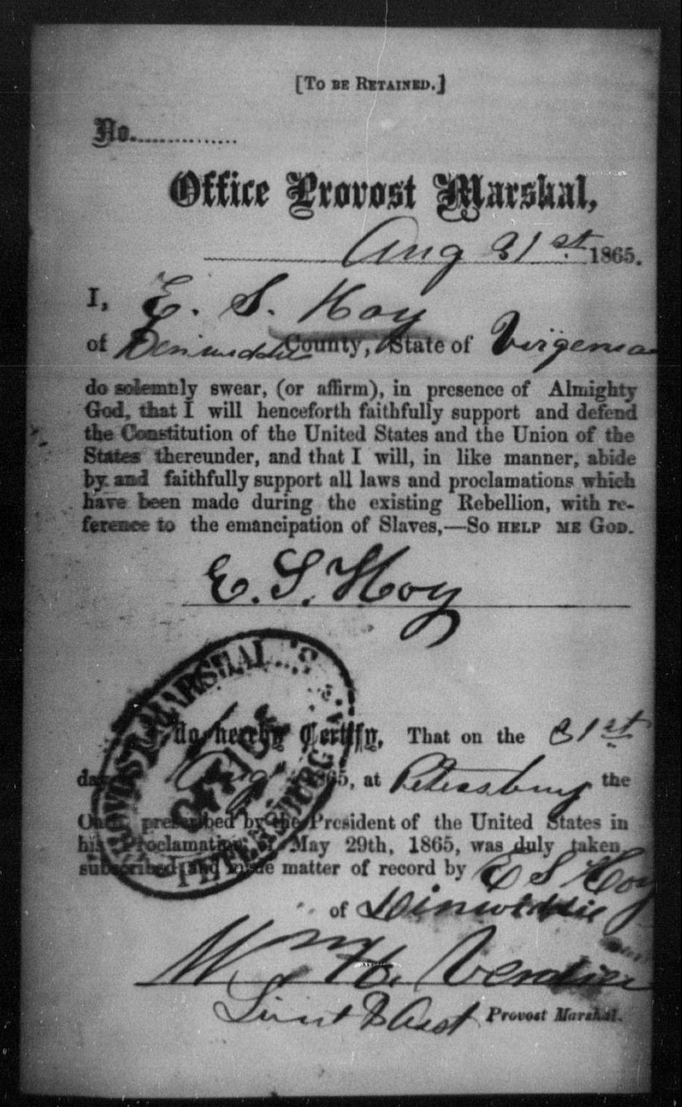 Hoy, E S - State: Virginia - Year: 1865