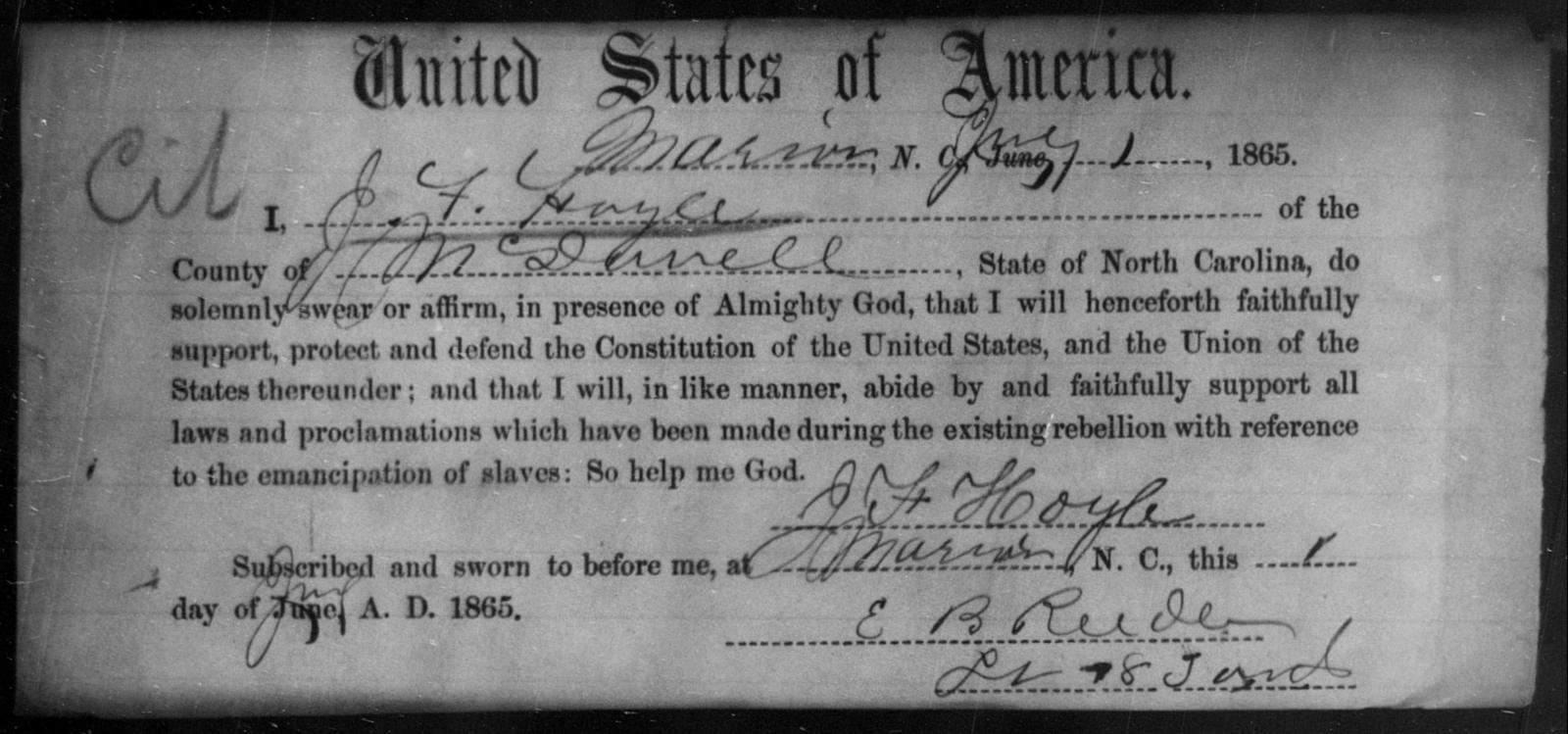 Hoyle, J F - State: North Carolina - Year: 1865