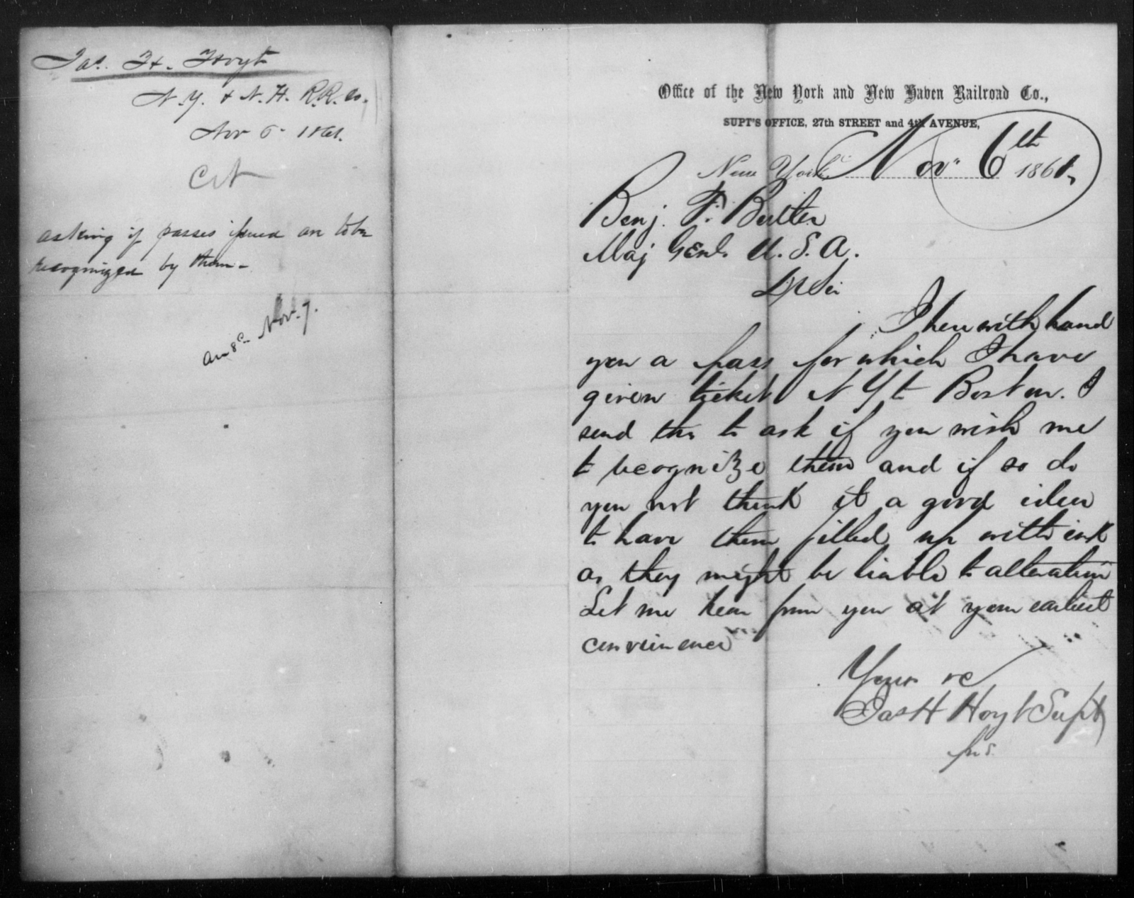 Hoyt, Jas H - State: New York - Year: 1861