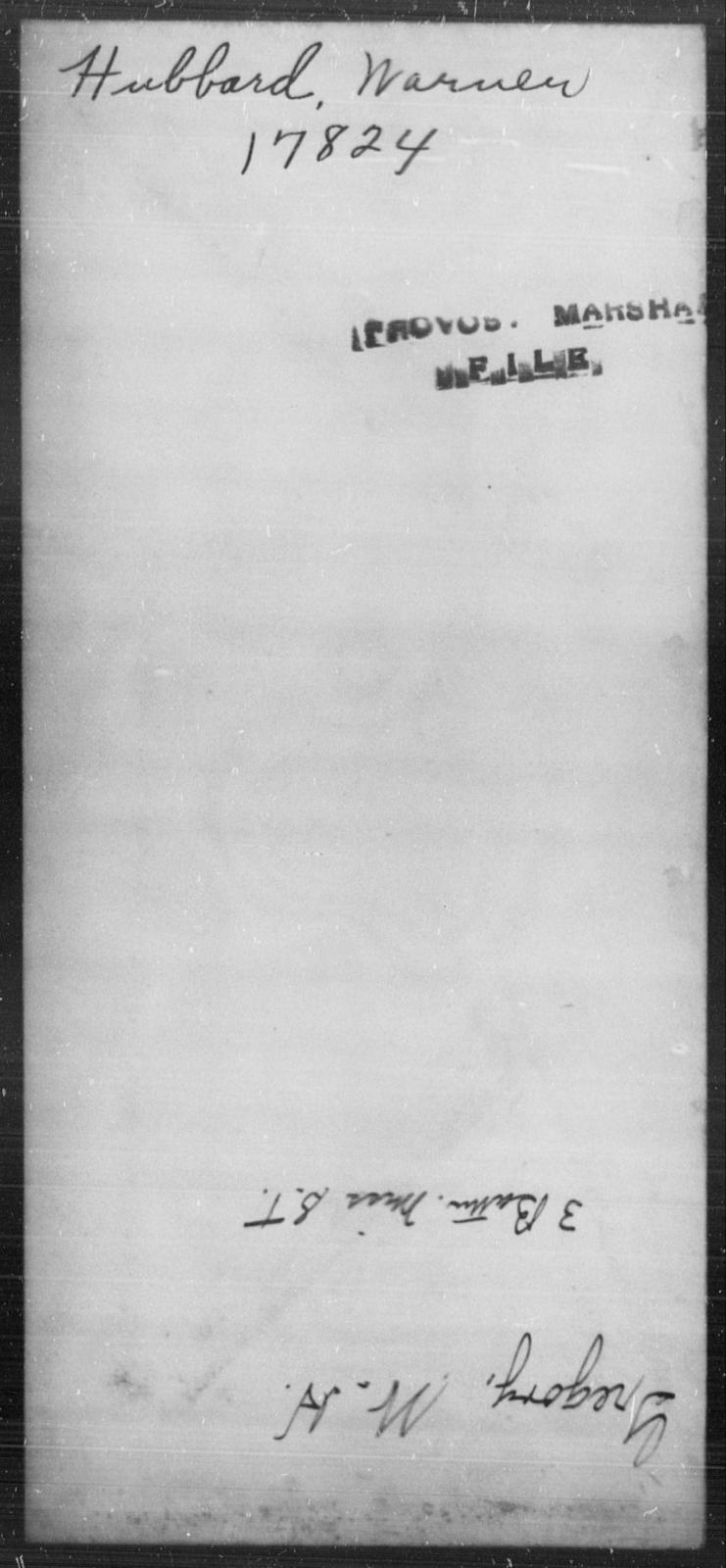 Hubbard, Warner - State: [Blank] - Year: [Blank]