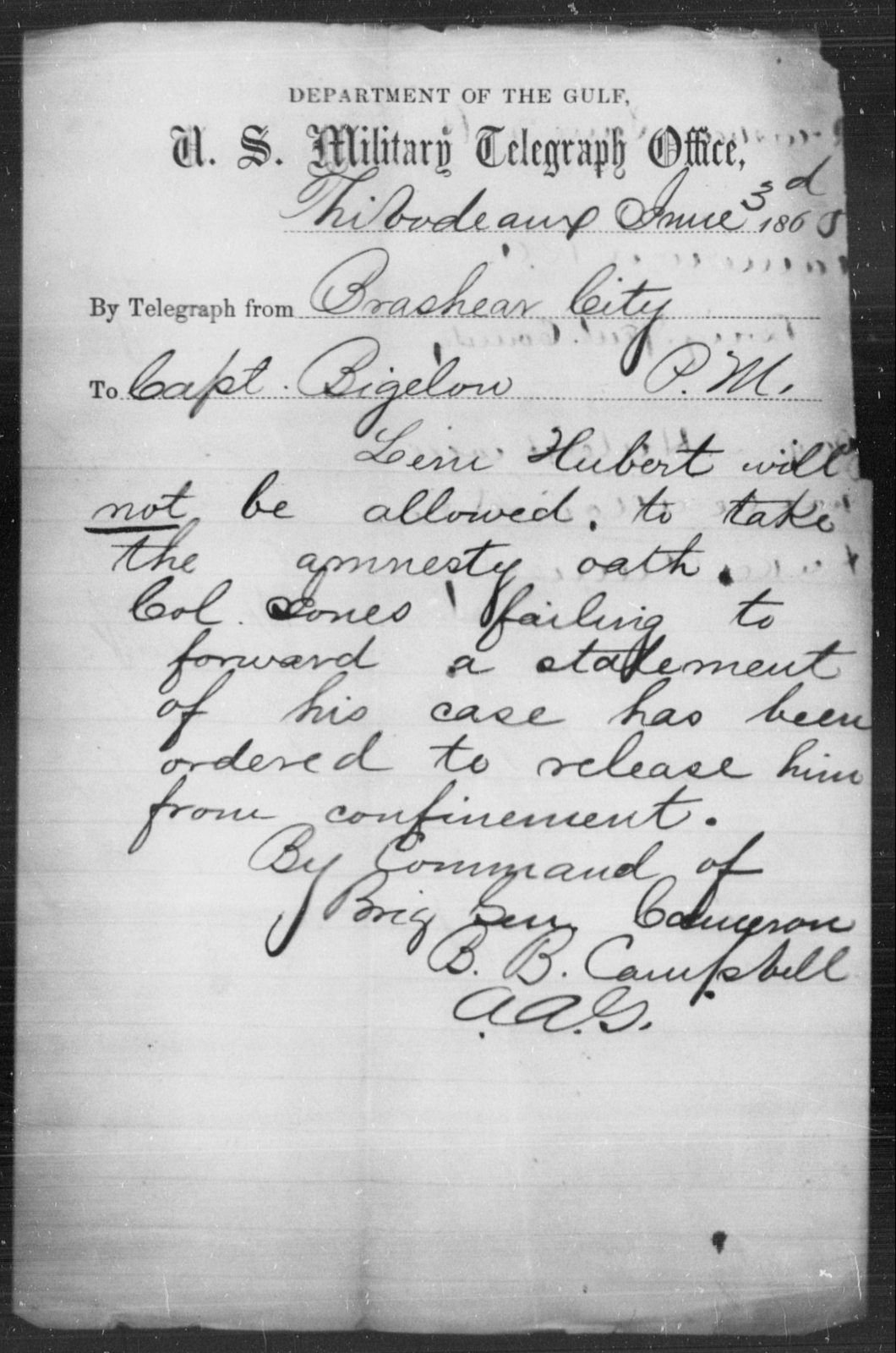 Hubert, Leni - State: Louisiana - Year: 1865