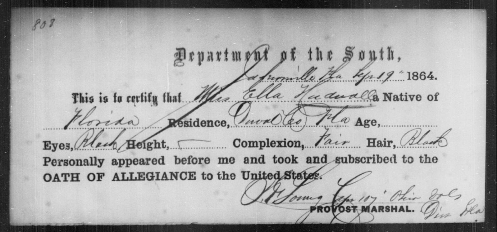 Hudnall, Ella - State: Florida - Year: 1864