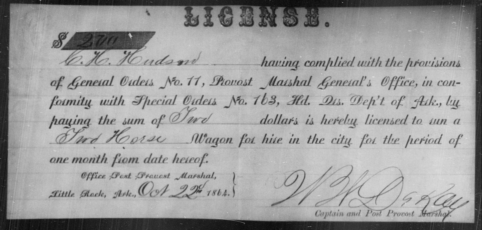 Hudrm, C H - State: Arkansas - Year: 1864