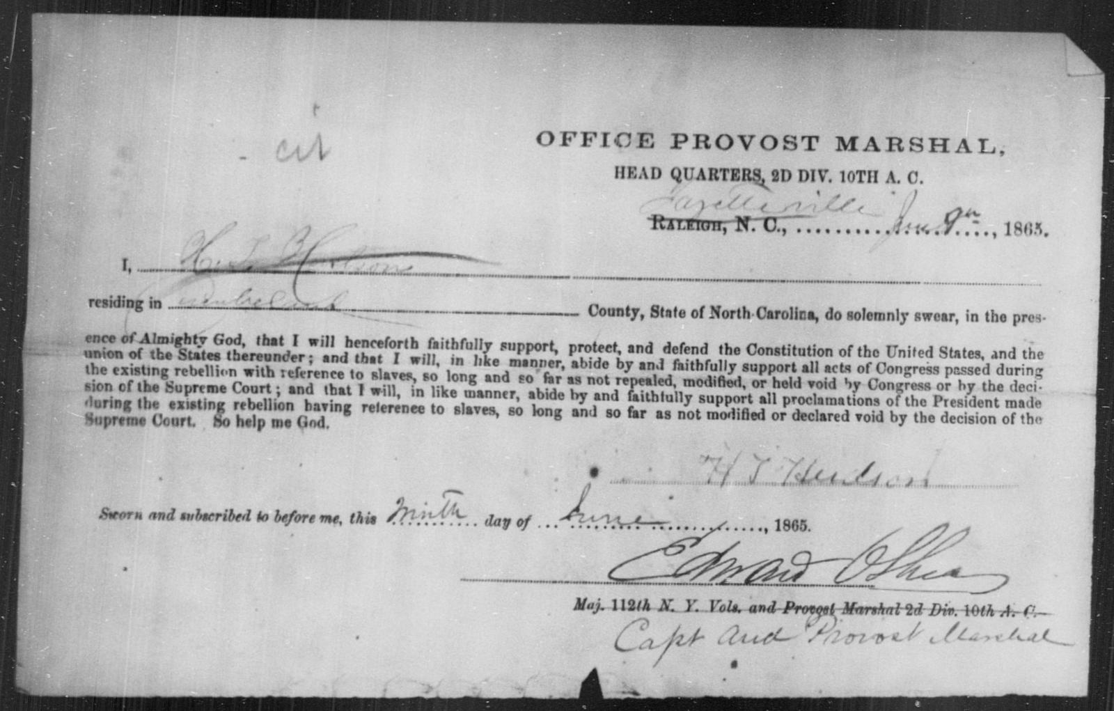 Hudson, H J - State: North Carolina - Year: 1863