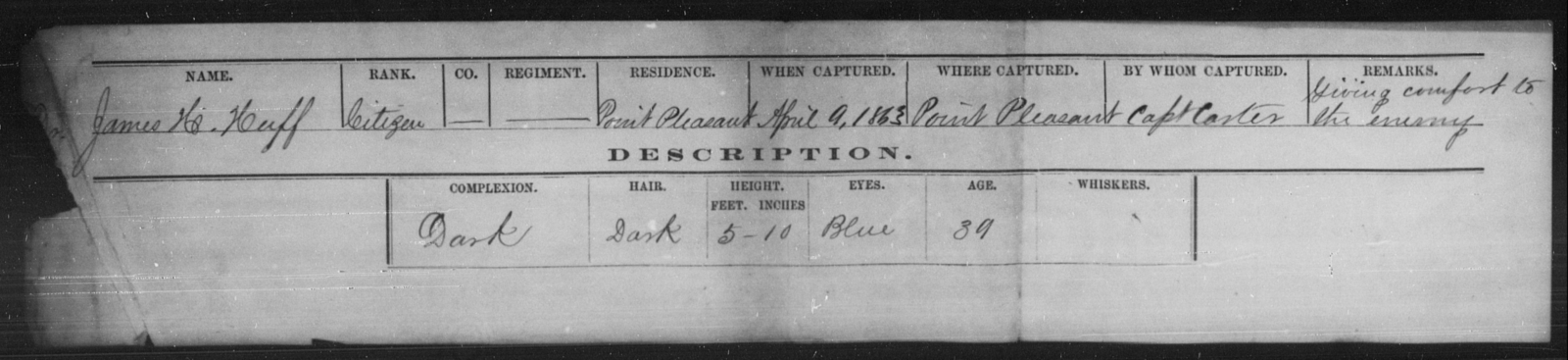 Huff, James H - State: [Blank] - Year: 1863