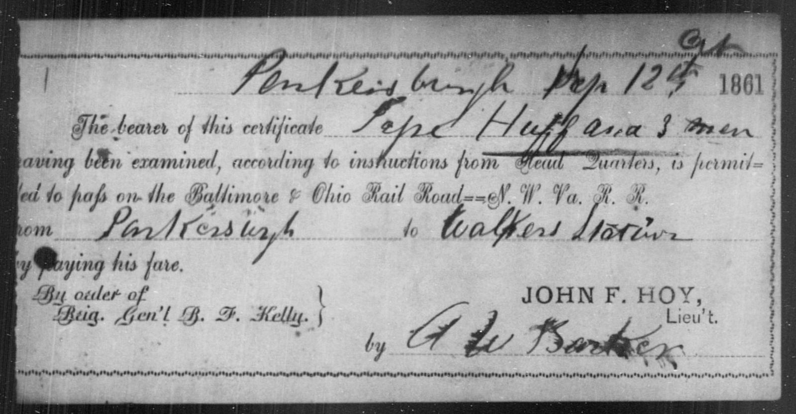 Huff, Pepe - State: Ohio - Year: 1861