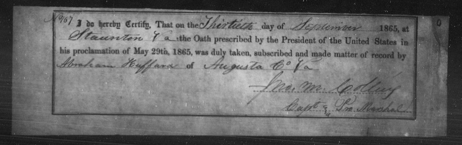 Huffard, Abraham - State: Virginia - Year: 1865