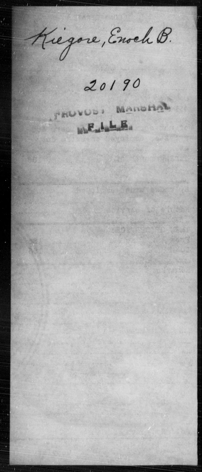 Kiegore, Enoch B - State: [Blank] - Year: [Blank]