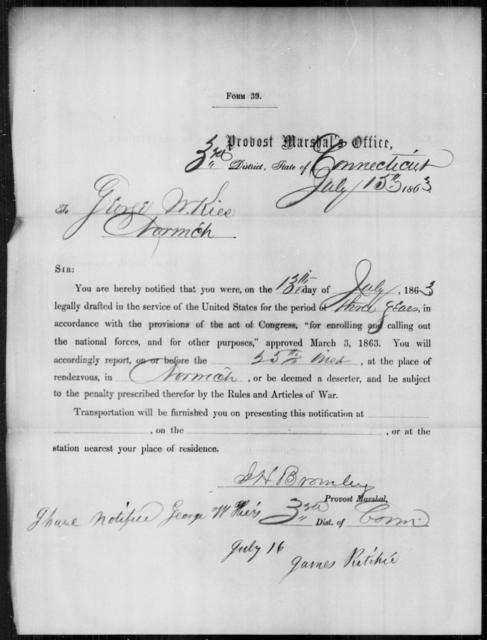 Kils, George W - State: Connecticut - Year: 1863