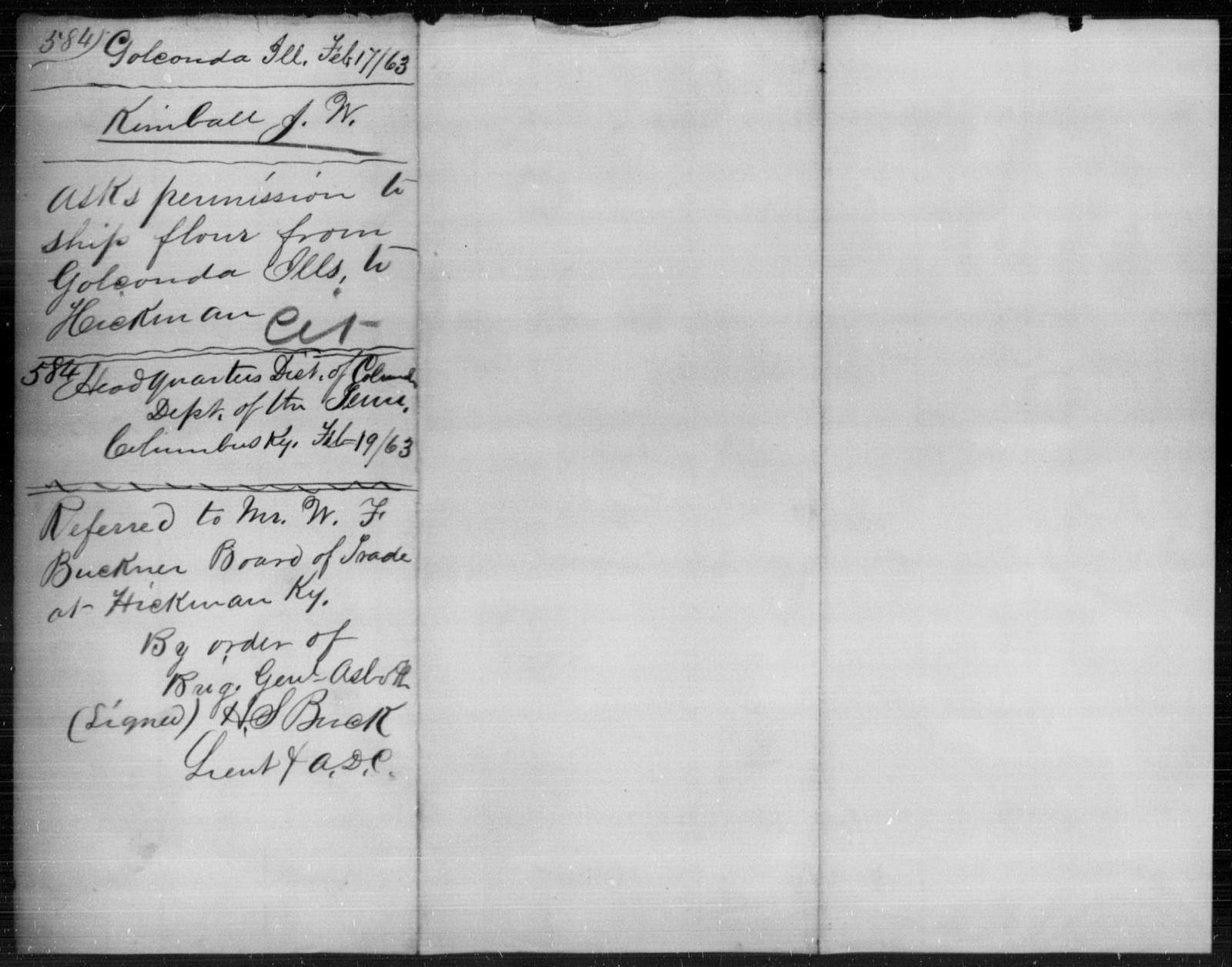 Kimball, J W - State: Illinois - Year: 1863