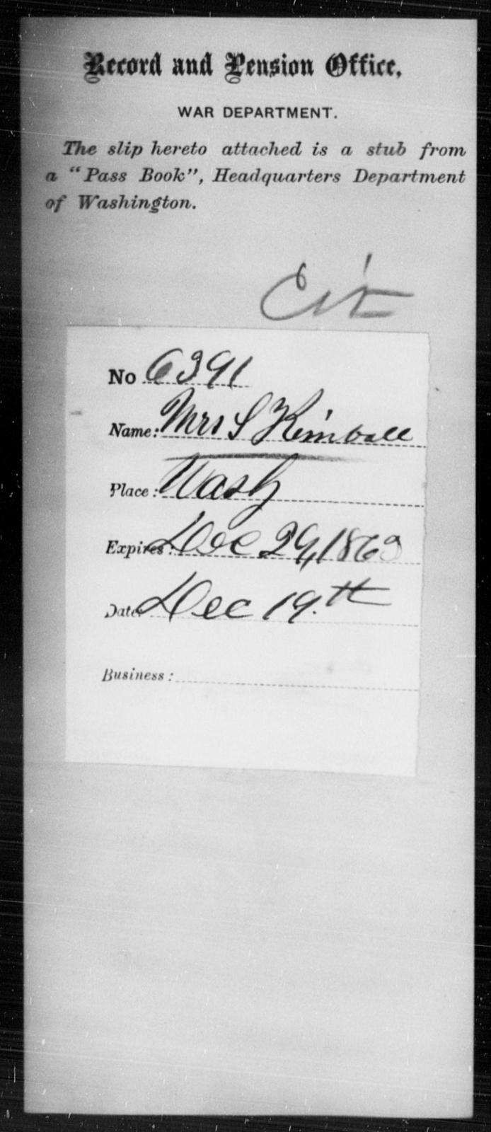 Kimball, S - State: Washington - Year: 1863
