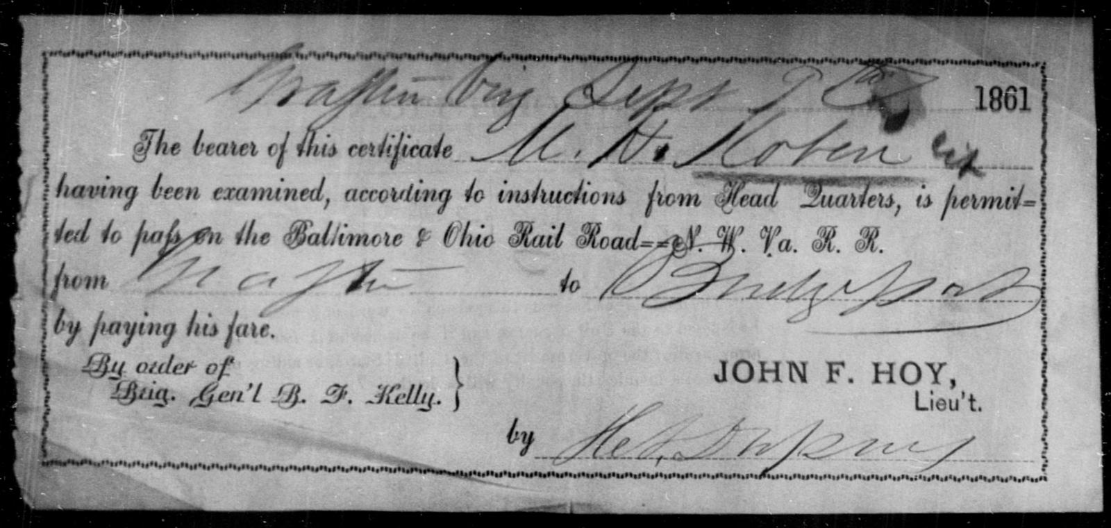 Koben, M H - State: [Blank] - Year: 1861