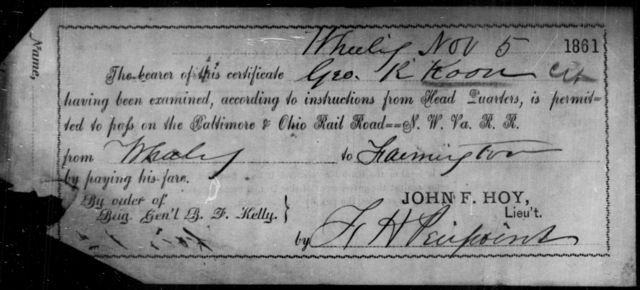 Koon, Geo R - State: [Blank] - Year: 1861