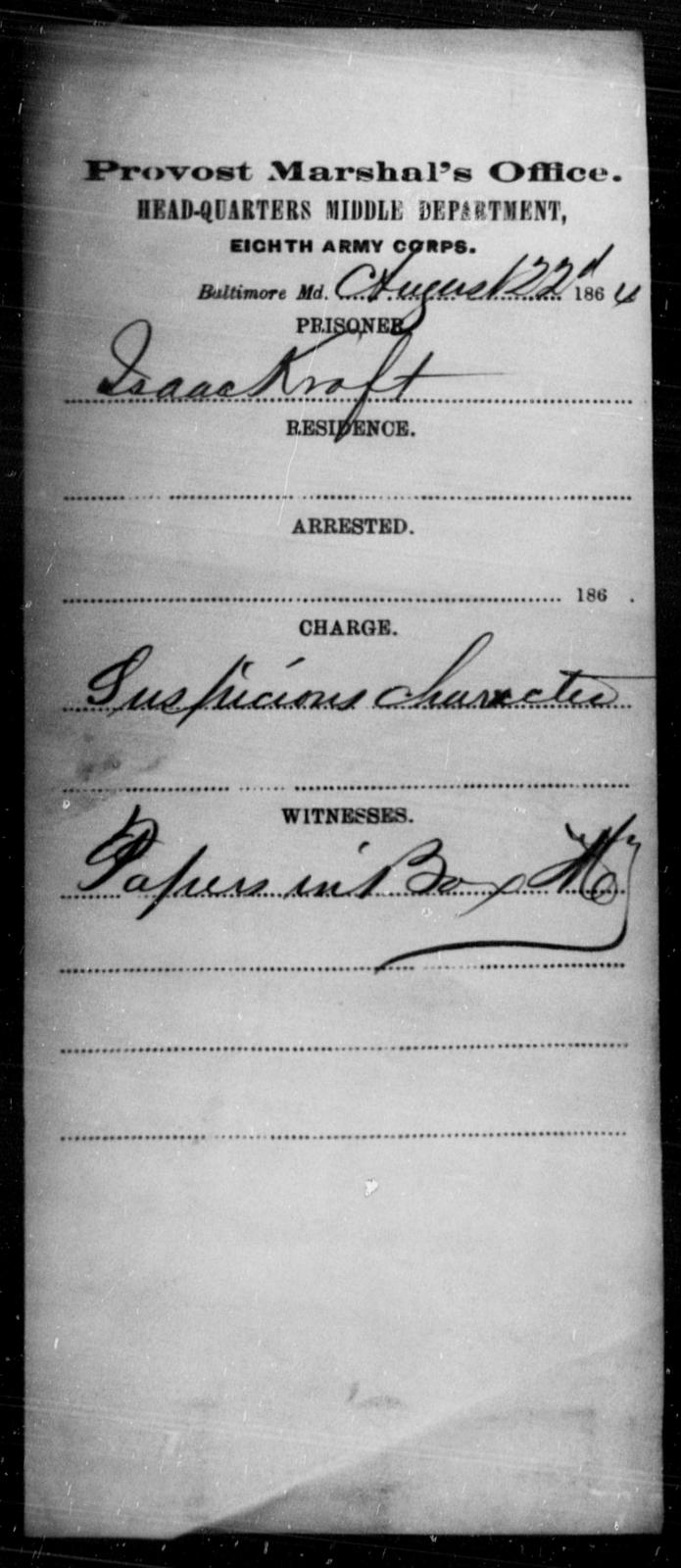 Kraft, Isaac - State: Maryland - Year: 1864