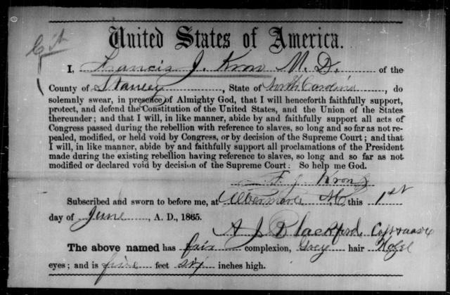 Kron, Francis J - State: North Carolina - Year: 1865