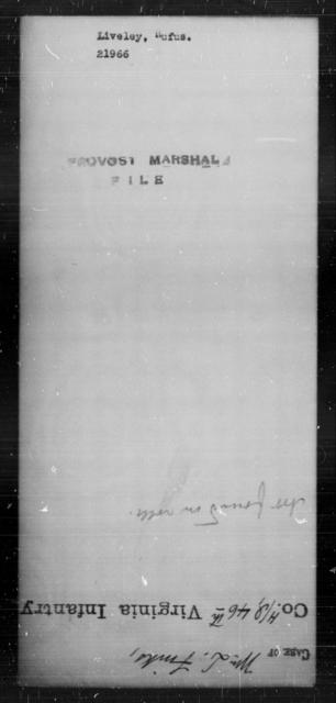 Liveley, Rufus - State: [Blank] - Year: [Blank]