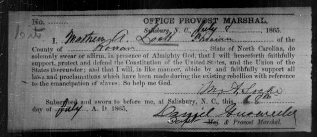 Lock, Mathew A - State: North Carolina - Year: 1865