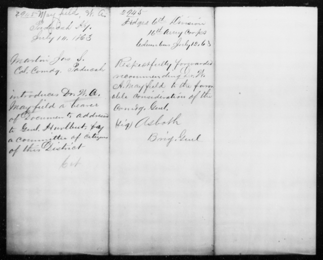 Mayfield, W A - State: Kentucky - Year: 1863