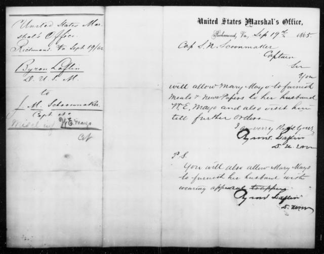Mayo, W E - State: Virginia - Year: 1865