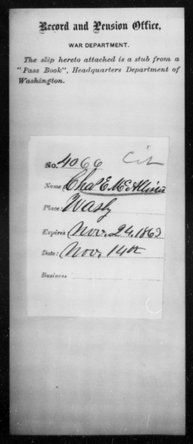 McAllister, Chas E - State: District of Columbia - Year: 1863