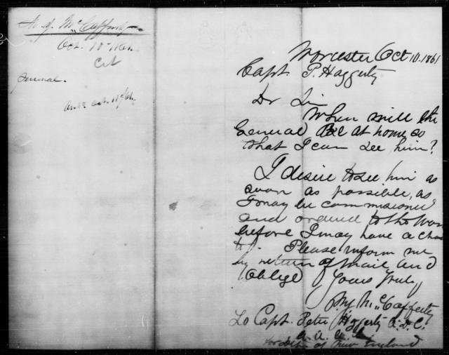 McCafferty, M J - State: [Blank] - Year: 1861