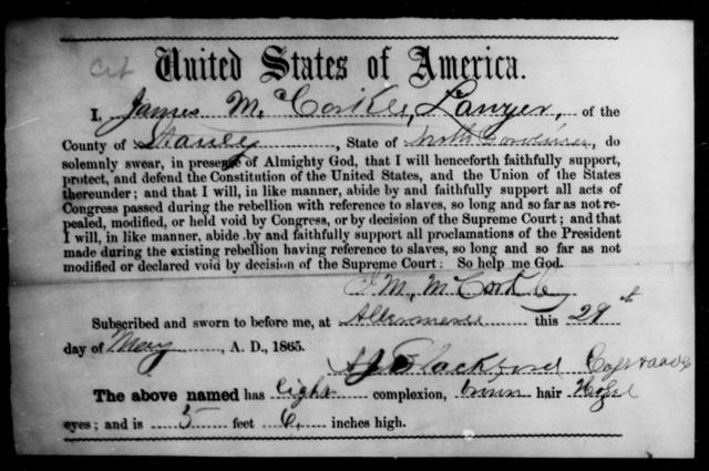 McCorkle, James - State: North Carolina - Year: 1865