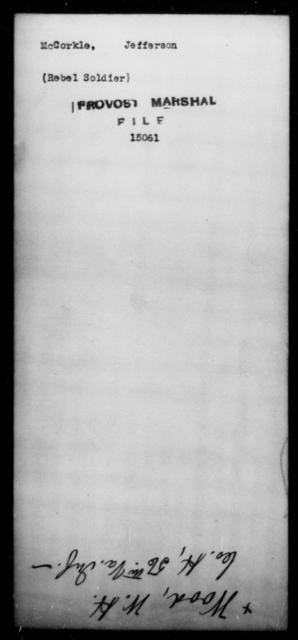 McCorkle, Jefferson - State: [Blank] - Year: [Blank]