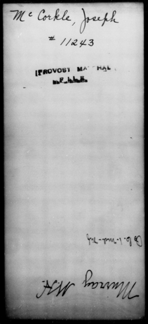 McCorkle, Joseph - State: [Blank] - Year: [Blank]