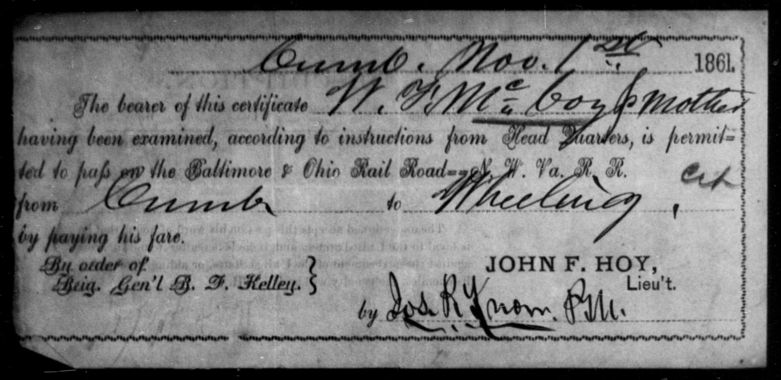 McCoy, W F - State: Ohio - Year: 1861