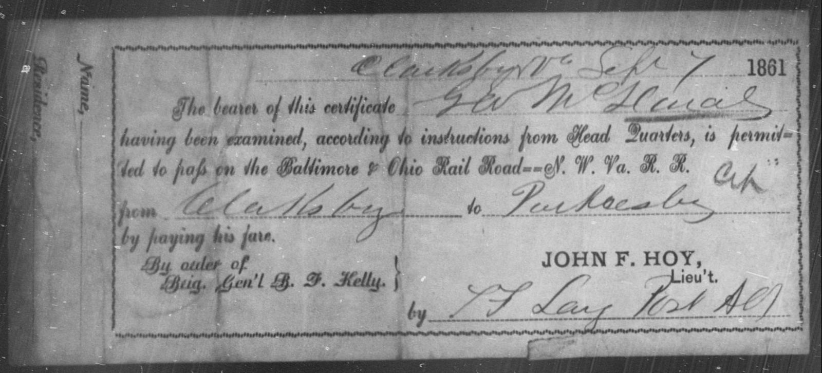 McDaniel, G A - State: Ohio - Year: 1861