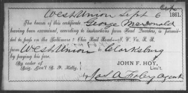 McDonald, George - State: Ohio - Year: 1861