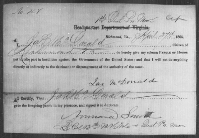 McDonald, Jas - State: Virginia - Year: 1865