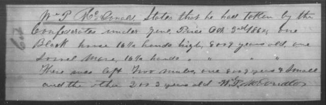 McDonald, Wm P - State: [Blank] - Year: 1864