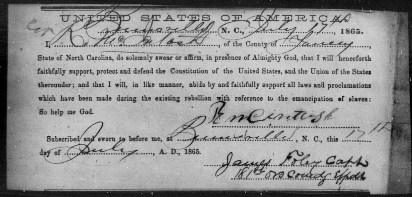 McIntosh, R - State: North Carolina - Year: 1865