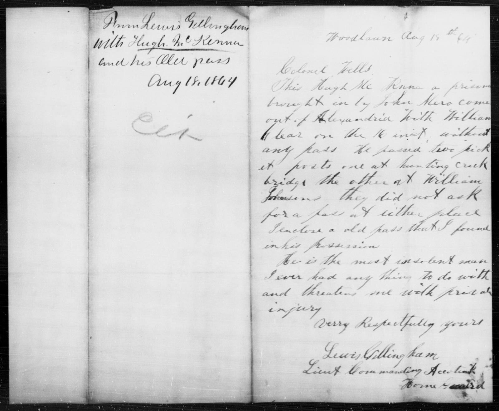 McKenna, Hugh - State: [Blank] - Year: 1864