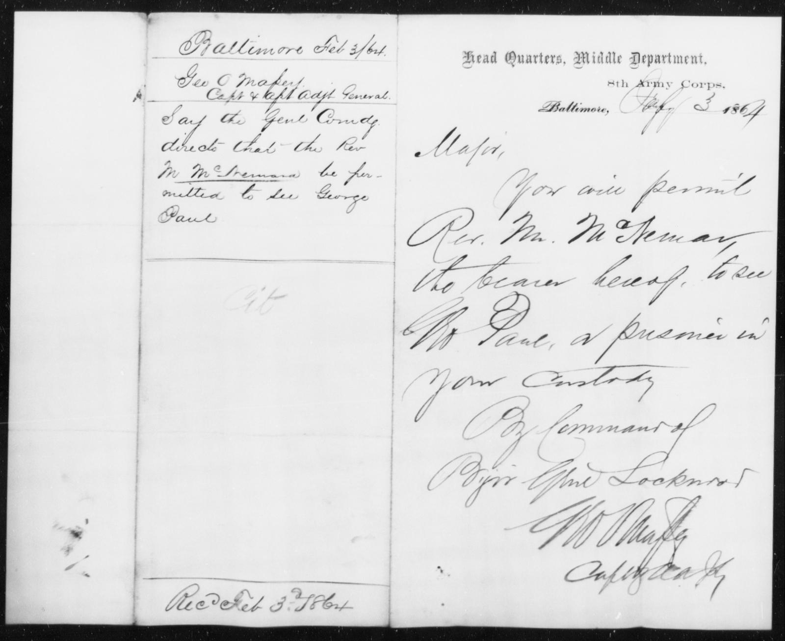 McNemar, M - State: [Blank] - Year: 1864