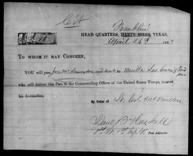 McRamos, Jose - State: Texas - Year: 1863
