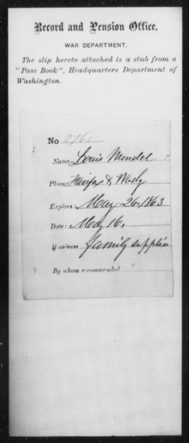 Mendel, Louis A - State: Washington - Year: 1863