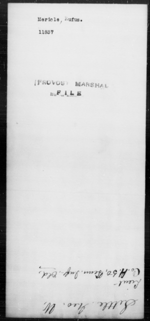 Mericle, Rufus - State: [Blank] - Year: [Blank]