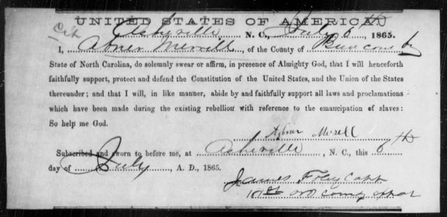 Merrill, Abner - State: North Carolina - Year: 1865