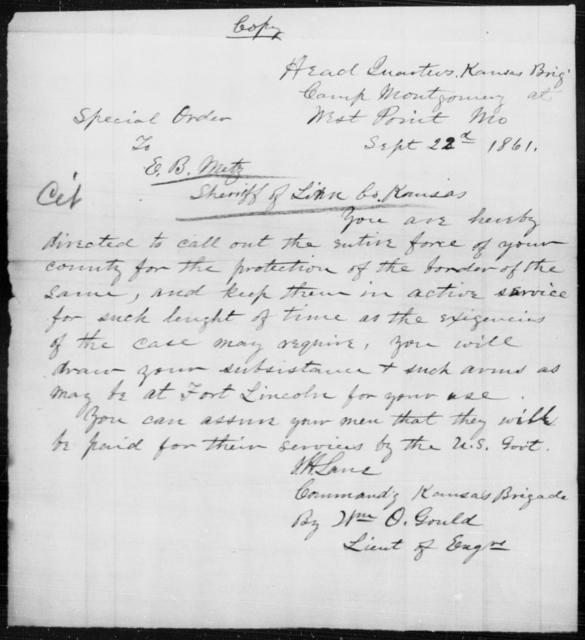 Metz, E B - State: Missouri - Year: 1861